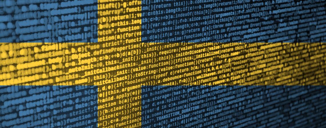 Schweden Flagge als Programmiercode