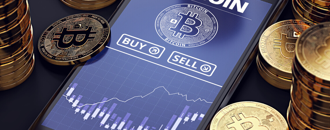 Bitcoin-Handel auf einem Smartphone