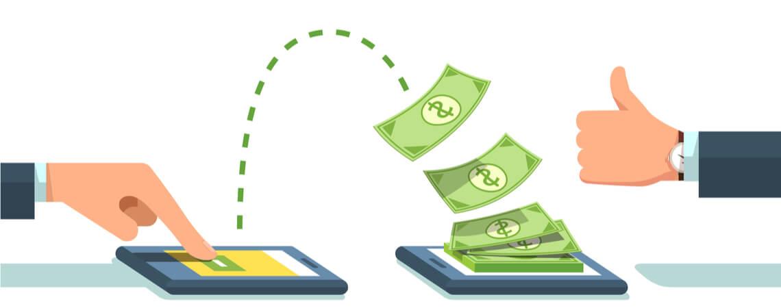 Leute senden Geld von Smartphone zu Smartphone.