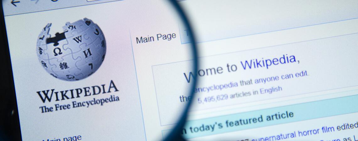 Wikipedia-Seite mit Lupe