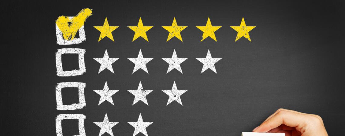 5 Sterne Bewertung auf Tafel