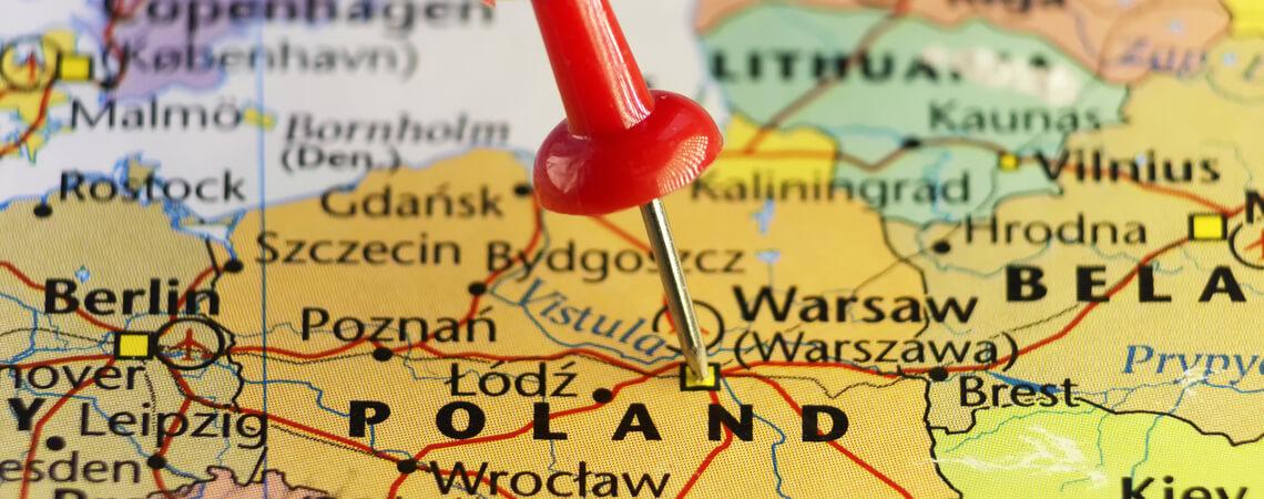 Polen auf einer Landkarte