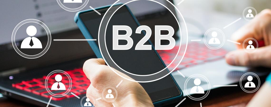 B2B vor Smartphone und Laptop