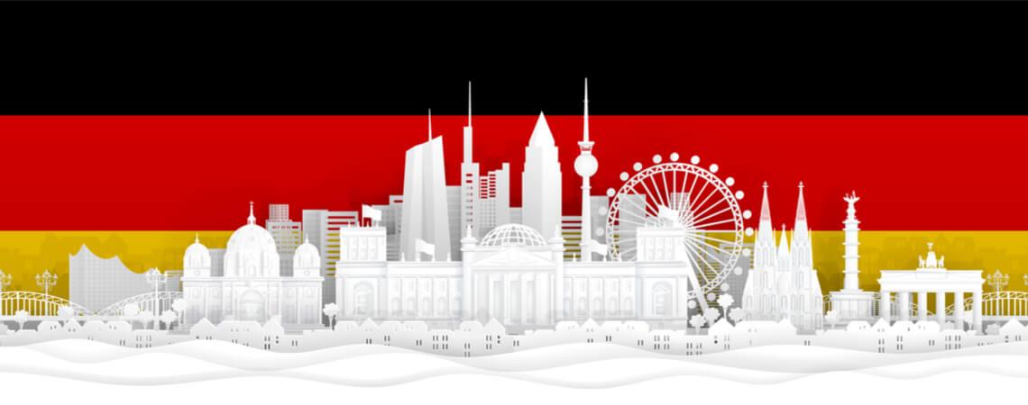 Deutschland-Flagge mit Sehenswürdigkeiten