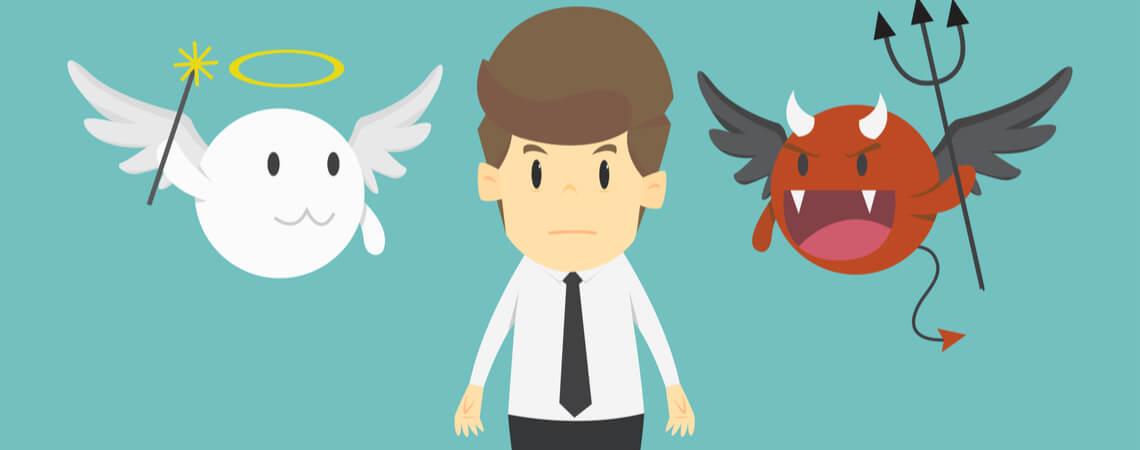 Geschäftsmann mit Engelchen und Teufelchen