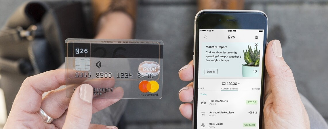 N26-Kreditkarte und Smartphone-App