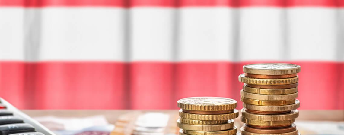Österreich Flagge und Geld