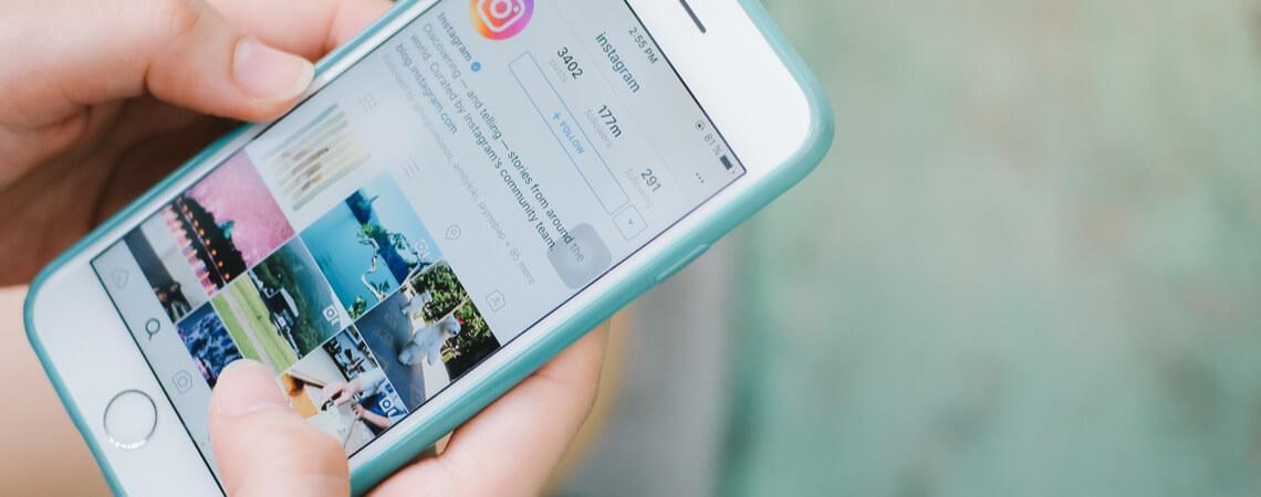 Instagram läuft auf Handy.