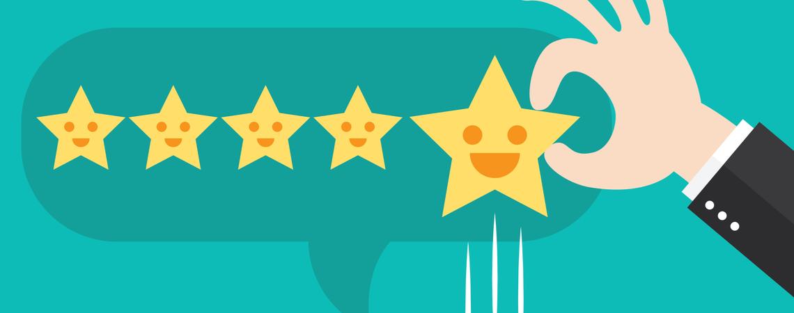 Bewertung mit fünf Sternen