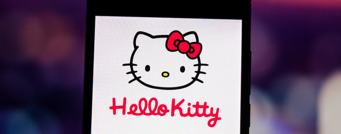 Hello Kitty auf einem Smartphone