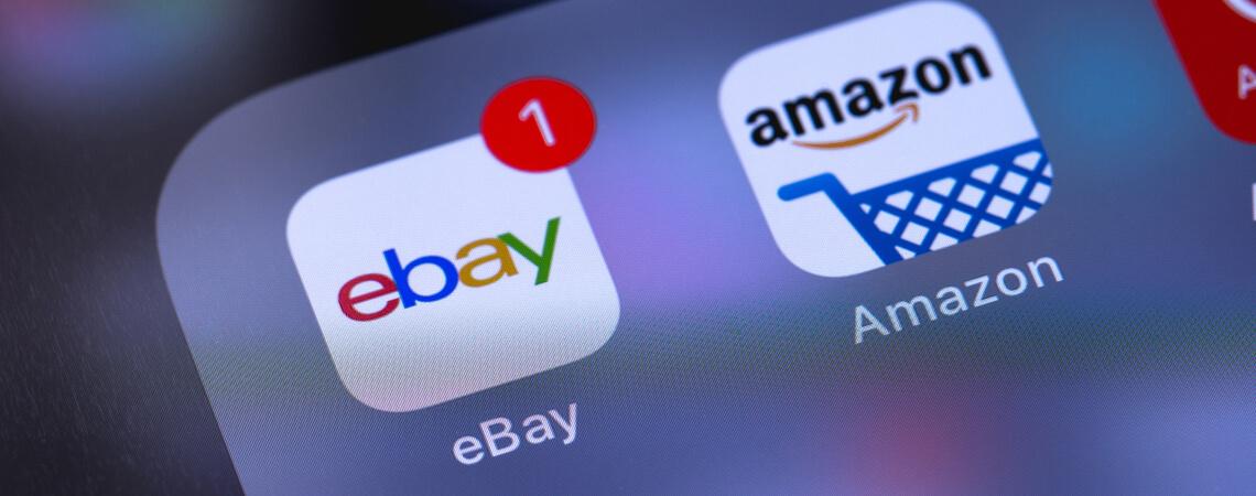 Apps von Ebay und Amazon nebeneinander