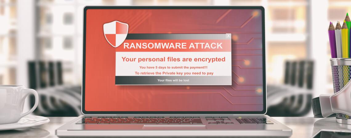 Mit Ransomware verschlüsselter Laptop