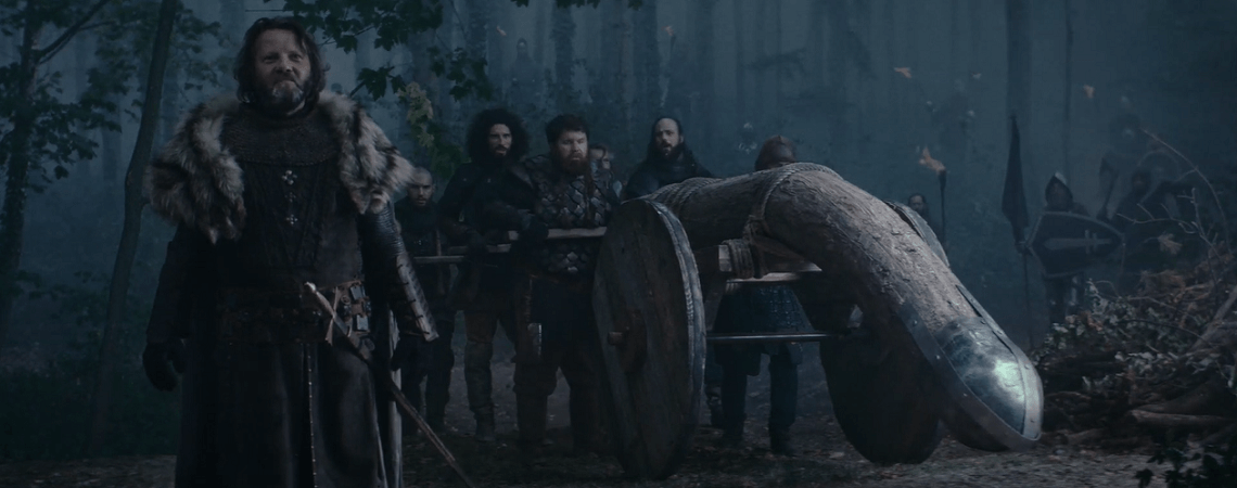 Ritter und ein gebogener Rammbock