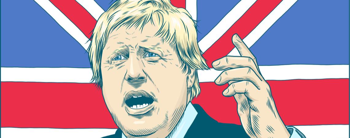 Boris Johnson gezeichnet vor Union Jack