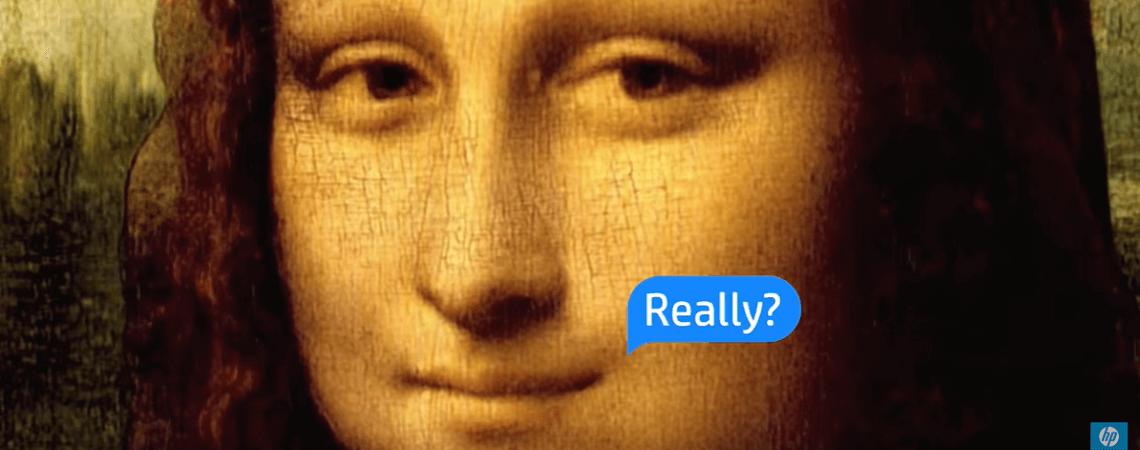 Mona Lisa Lächeln und Sprechblase