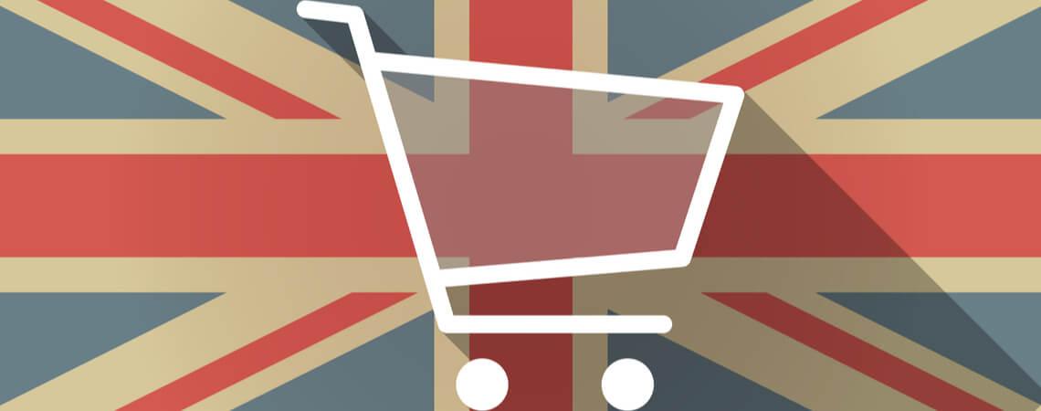 Einkaufswagen vor britischer Flagge