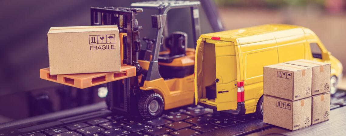 Miniatur-Logistik-Lieferkette