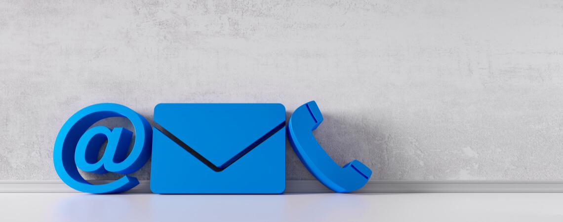 Symbole für E-Mail, Brief und Telefon