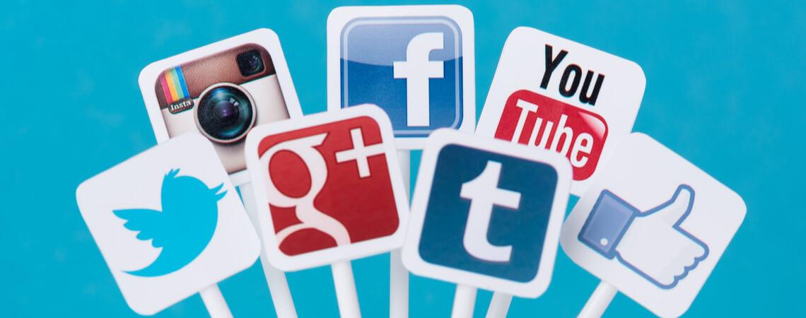 Sammlung verschiedener Social-Media-Icons