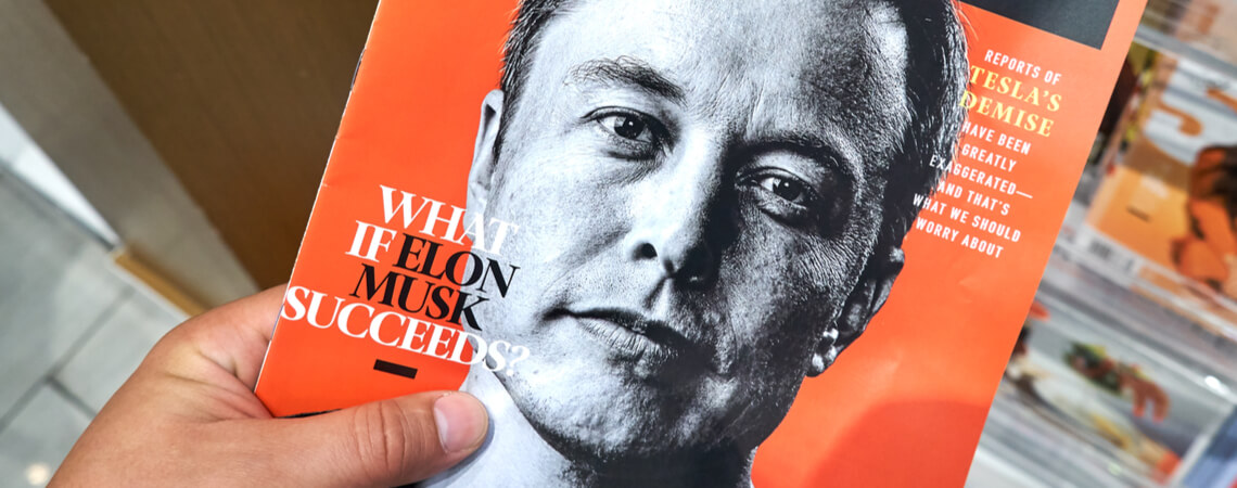 Elon Musk auf einem Magazincover