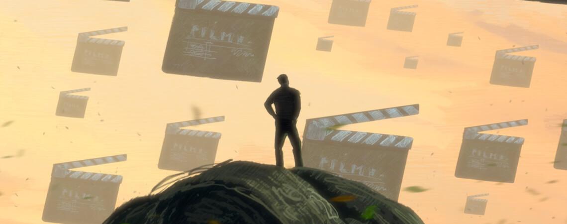 Imagefilm: Mann auf einem Felsen vor Filmklappen