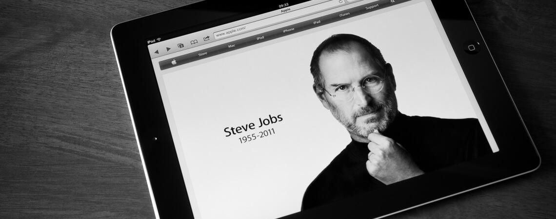 Steve Jobs auf Tablet