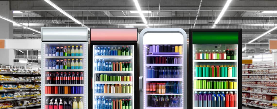 Getränke in Kühlschränken