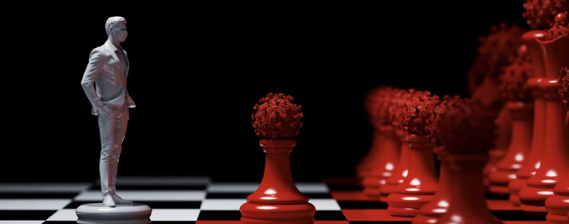 Schachfiguren Corona Strategie