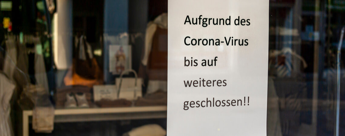 Geschäft geschlossen wegen Coronavirus