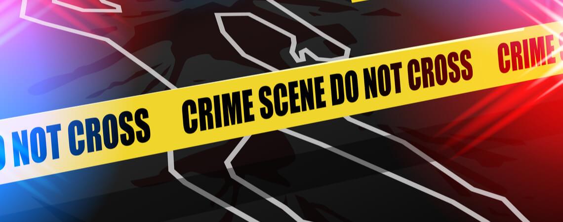 Kriminalszene mit Absperrband