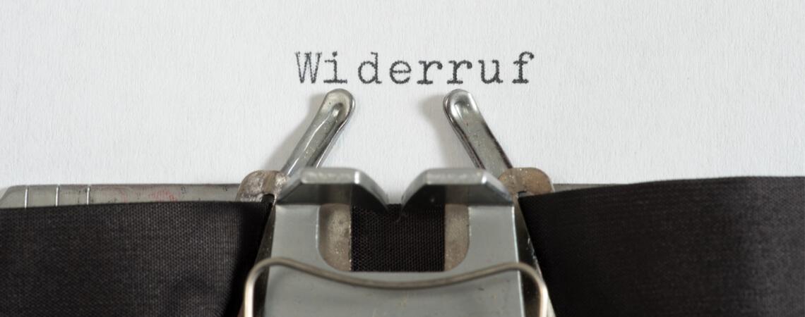 Widerruf auf Schreibmaschine