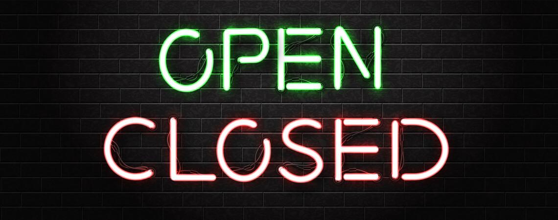 Neonschild open closed