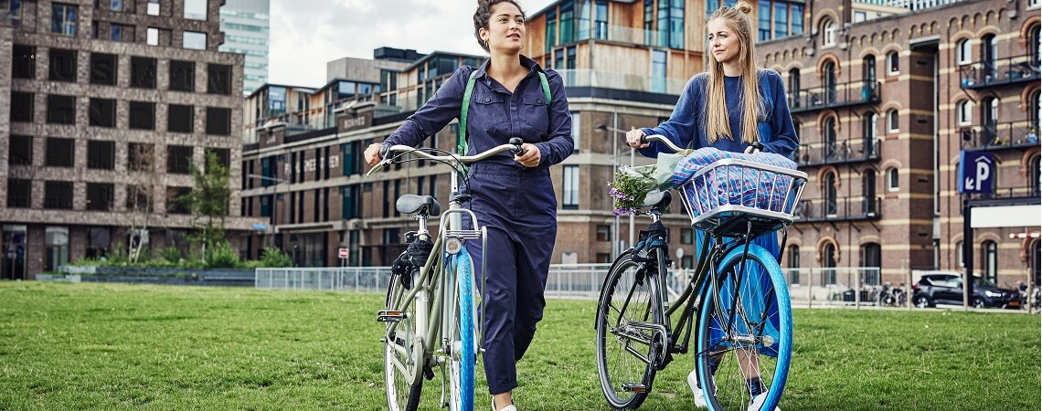 Frauen mit Swapfiets-Mietrad