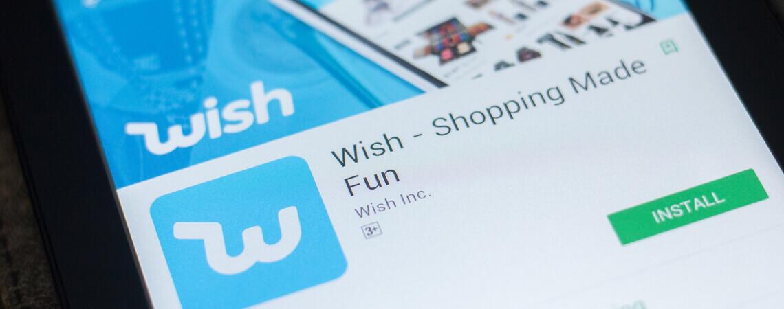 Logo der Shopping-Plattform Wish auf einem Smartphone