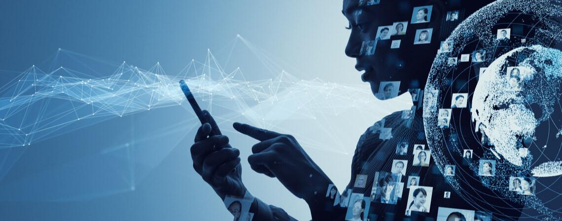 Konzeptbild vom Sammeln der Daten über ein soziales Netzwerk