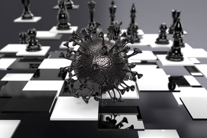 Corona Virus spielt Schach