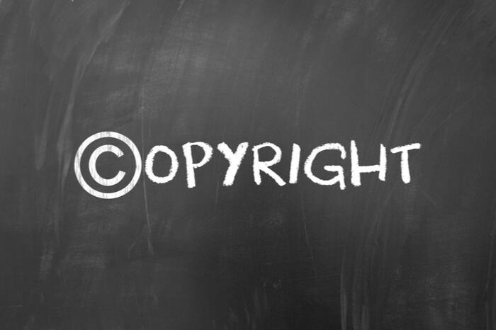 Copyright auf Tafel
