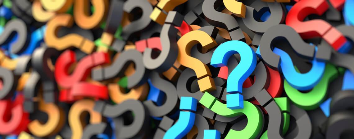 Viele farbige Fragezeichen
