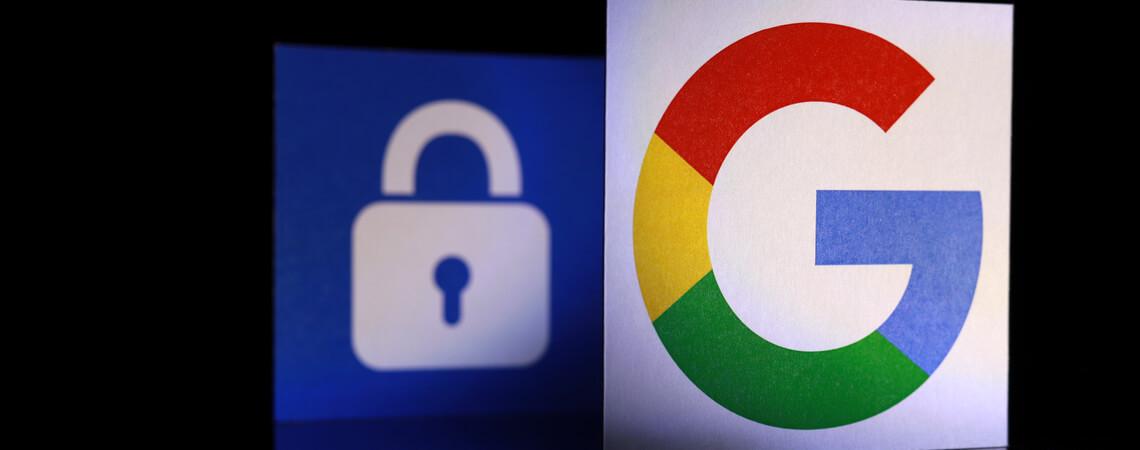 Google-Logo mit Datenschutzsymbol