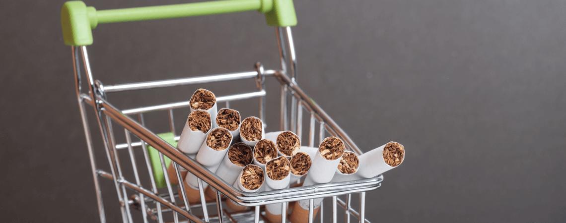 Zigaretten in Warenkorb