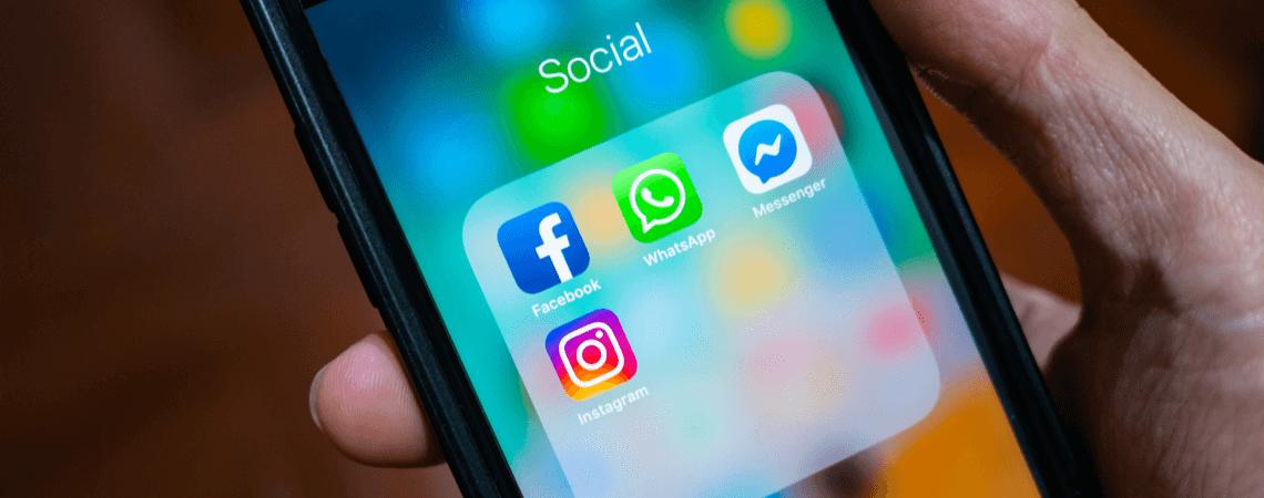 Facebook, Messenger, Whatsapp, Instagram auf Smartphone