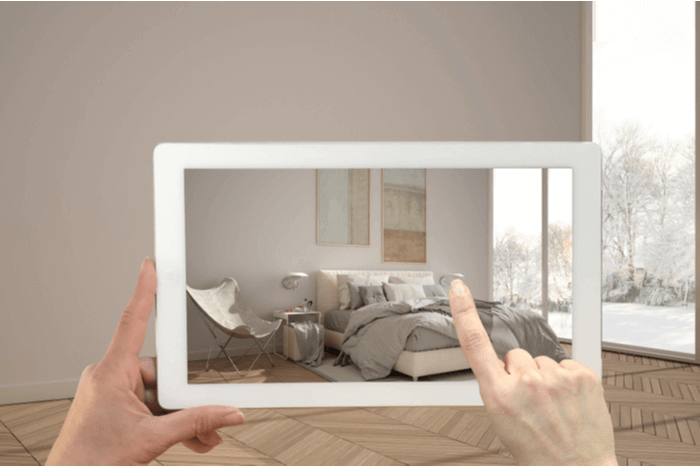 CGI Augmented Reality Tablet Schlafzimmer