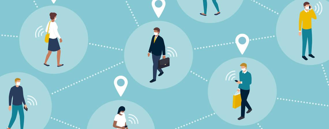 Menschen mit Abstand und Tracing-App