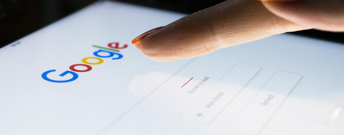 Google auf einem Tablet