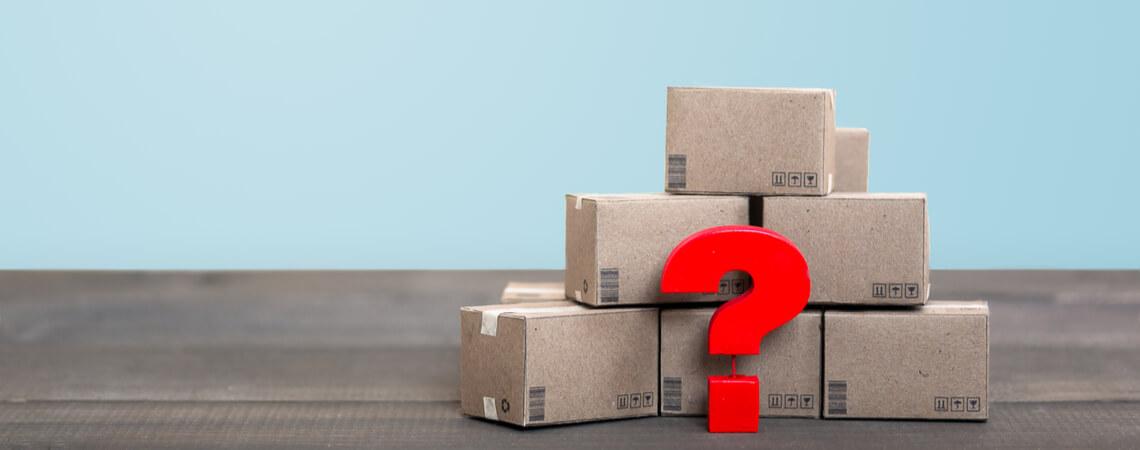 Pakete mit Fragezeichen