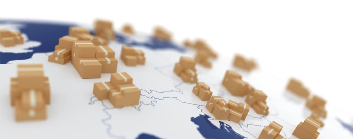 Weltkarte mit verteilten Paketen