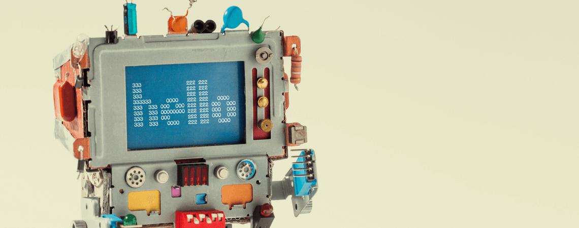 Roboter mit Text Hallo auf Display