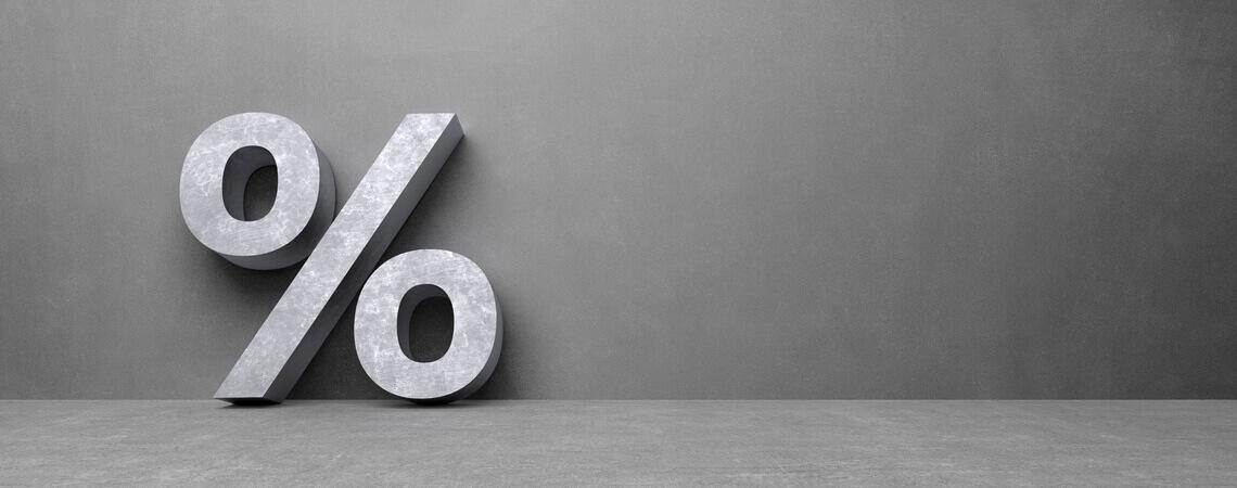 Mehrwertsteuersenkung: Prozentzeichen vor grauem Grund