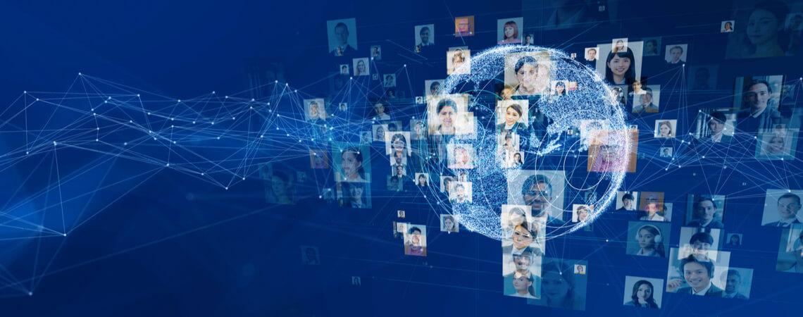 Soziales Netzwerk mit Globus