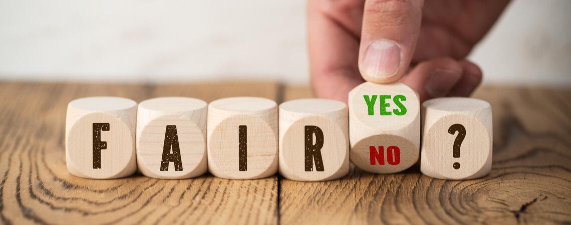 Fair oder nicht fair auf Würfeln